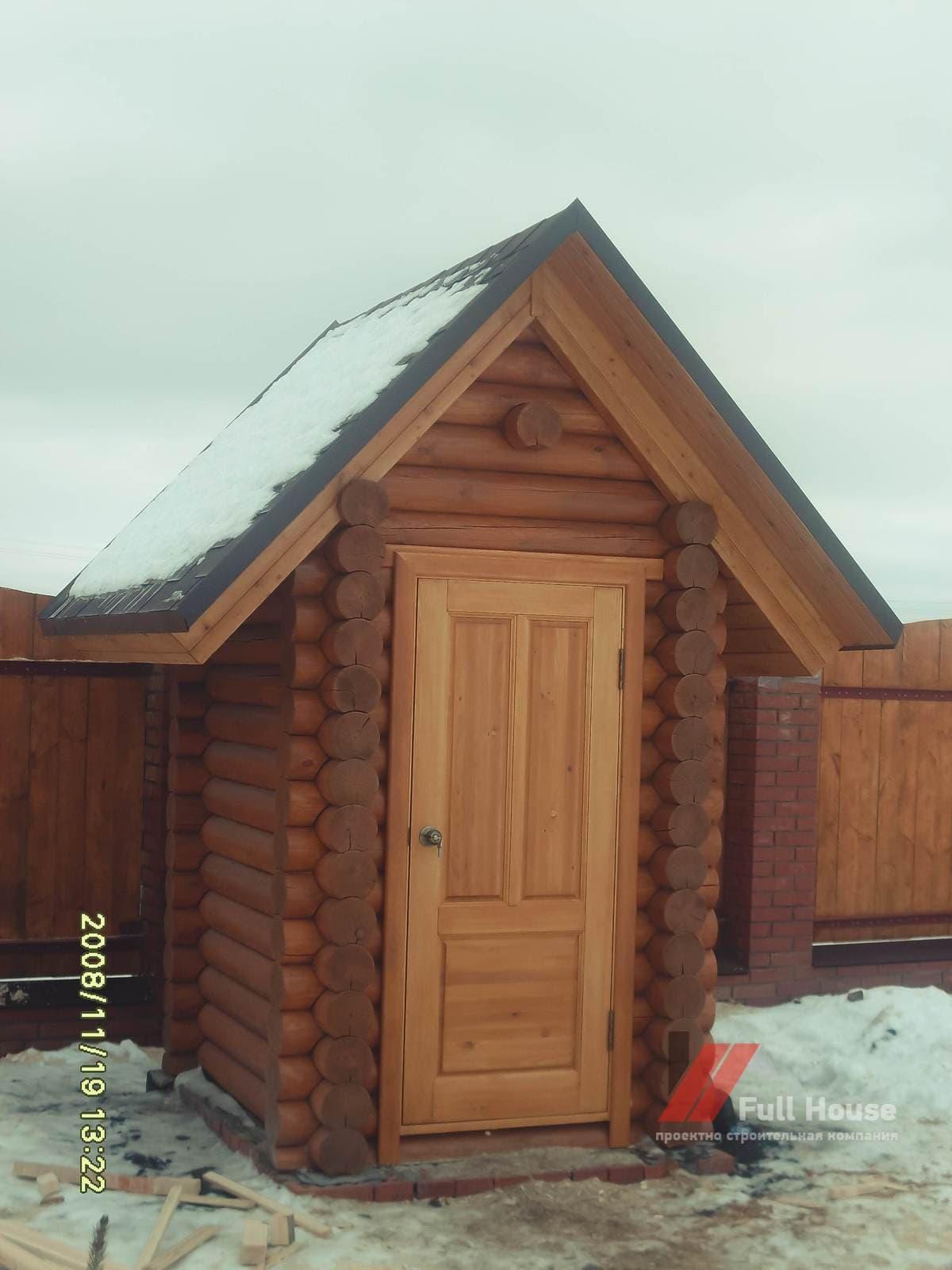 Деревянный туалет купить из бревна в Новосибирске